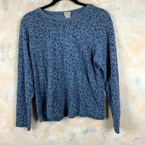 L.L Bean Floral Henley Knit Top Shirt